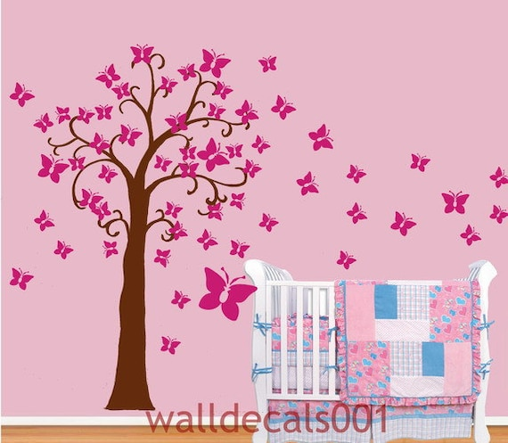 Vinyl Wall Decals Wall stickers Butterflies tree for bayby nursery