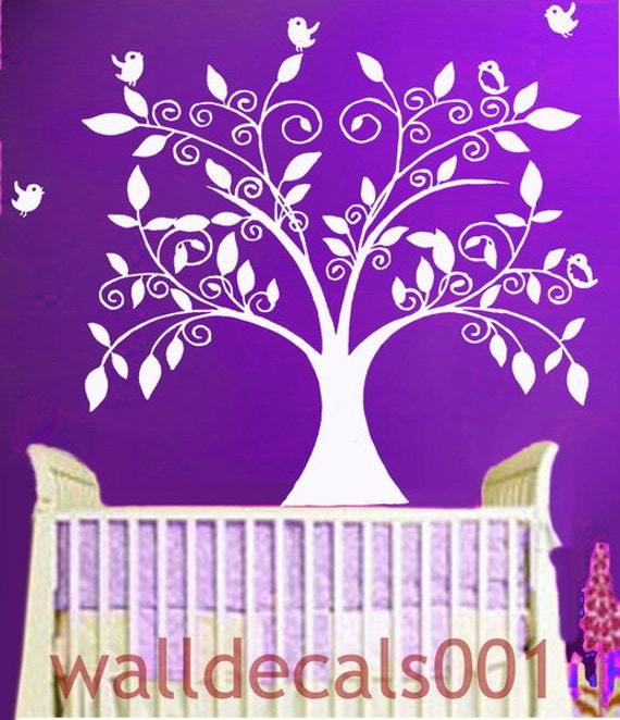 Baby Nursery Wall Decals Tree decal birds decal Kids decal Wall Sticker wall art room decor -The Loving Tree with Birds