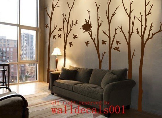 Tree Wall Decals Wall Stickers Winter Tree Decals-birds flying in winter forest 100in