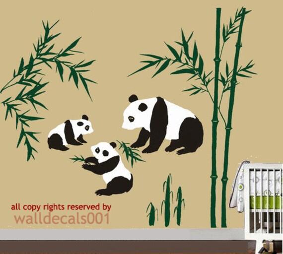 Kids Wall Decals panda decals baby decals nursery decals bammboo boy room decor wall stickers wall decor wall art-panda with bamboo