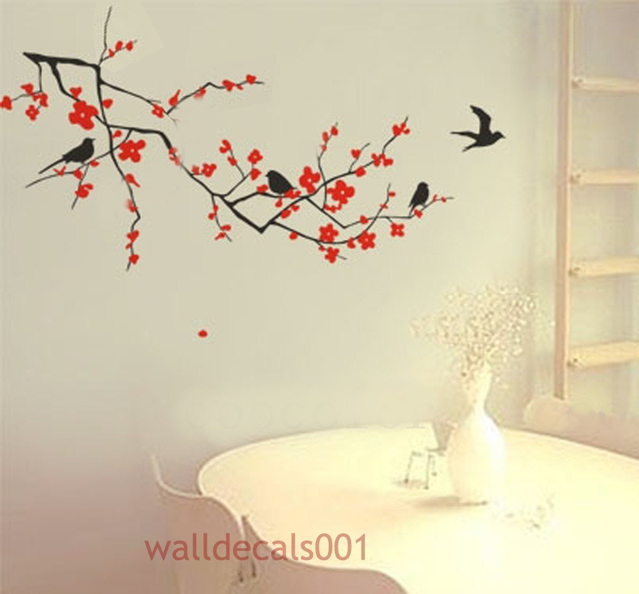 Vinyl wall decals wall for Cherry blossom mural works