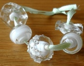 Set of 5 White and Clear Lampwork Beads and Rondels SRA