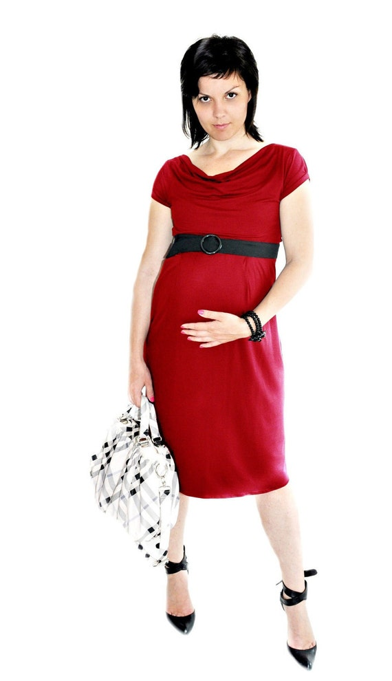 Stylish Maternity  Prenatal Summer Dress in Valentine  red, Maternity Clothing, 2 in 1 beyond pregnancy, Shower Party Dress