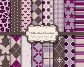 Purple Collection Digital Paper, Background, Printable Pattern - COMMERCIAL & PERSONAL USE