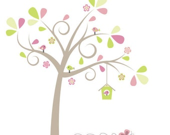 Bird Tree Digital Clipart - Ideal for Scrapbooking, Cardmaking and Paper Crafts