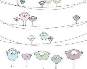 Cute Birds on Wire Digital Clip Art Set - Ideal for Scrapbooking, Card Making and General Paper Crafts