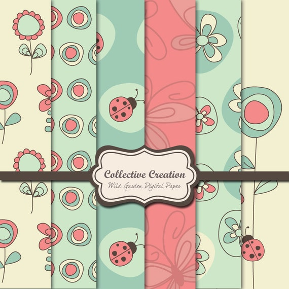 Wild Garden Digital Paper Kit - Set of 6 individual 12x12 sheets - Ladybugs, Flowers and Butterflies.