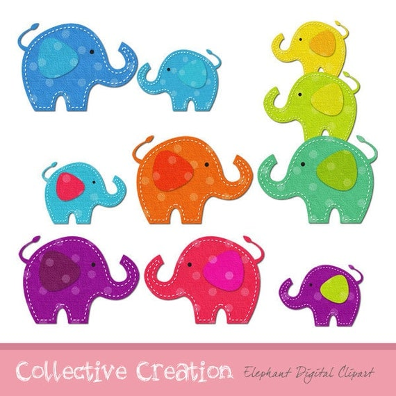 Rainbow Elephants Clipart Set - Ideal for Scrapbooking, Cardmaking and Paper Crafts
