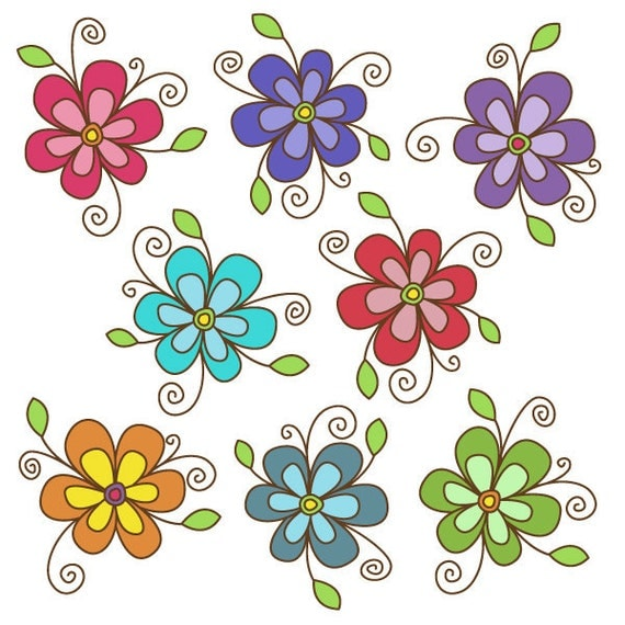 Items similar to Flower Clipart set - Great for ...