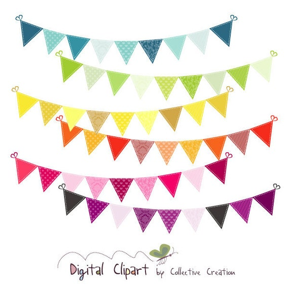 Rainbow Bunting Digital Clipart - Ideal for Scrapbooking, Cardmaking and Paper Crafts