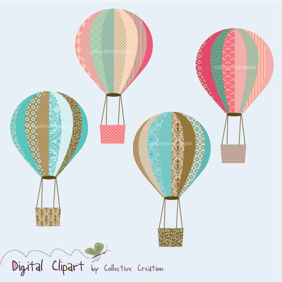 Hot Air Balloon Digital Clip art Set - Scrapbooking, Paper Crafts and Cardmaking