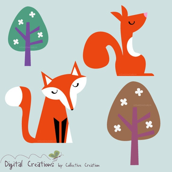 The Fox and the Squirrel Digital Clipart Set - Ideal for Scrapbooking, Card Making and Paper Crafts, Clip Art