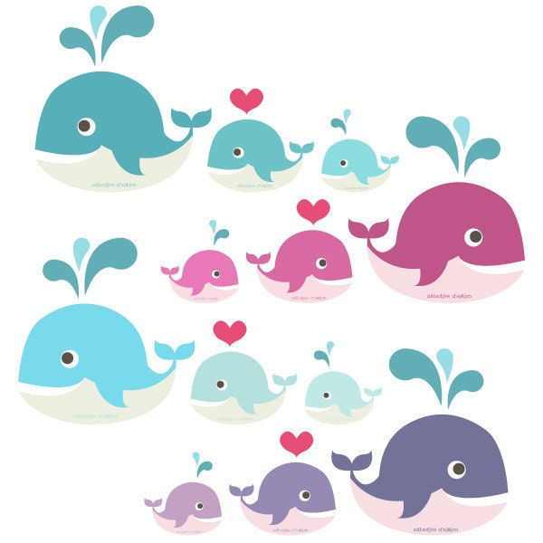 Whale Clipart Commercial and Personal use by ...