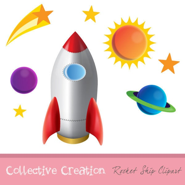 Rocket Ship Planets and Stars Digital by CollectiveCreation