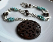 Bead and Silver Chain Necklace With Pendant - Bronzite and Turquoise Dyed Howlite Beads - Carved Wood Pendant