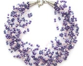 RESERVED for Ingrida Lilac and pink airy crochet necklace with pink quartz and seed beads, ideal for bridesmaid