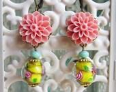 Peach Earrings Dangling Peach Pink Earrings Drop Coral Pink Earrings Salmon Pink Earrings - Song of Canary
