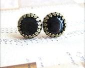 House of Harlow Inspired Sunburst Earrings Black Onyx Glass Earrings Button Earrings Tribal Rustic Gold Brass and Black Earrings - Mod Noir