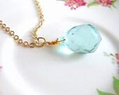 Aqua Seafoam Green Briolette Glass Necklace Gold Wire Wrapped Briolette Tear Drop Champagne Blue Mint Green Necklace - Ariel