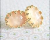 Earrings Apricot Peach Earrings Salmon Pink Orange Earrings Gold Post Earrings - Honey Cashmere Foundry Spice