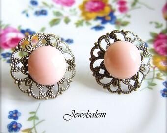 Pink Bridesmaid Earrings Peach Bridesmaid Earrings Bridal Jewelry Antique Brass Vintage Wedding Peach Pink Earring Studs