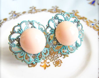 Mint Bridesmaid Earrings Blue Mint Green Earrings Peach Pink Earrings Mint Green Coral Earrings Mint Green Peach Earrings
