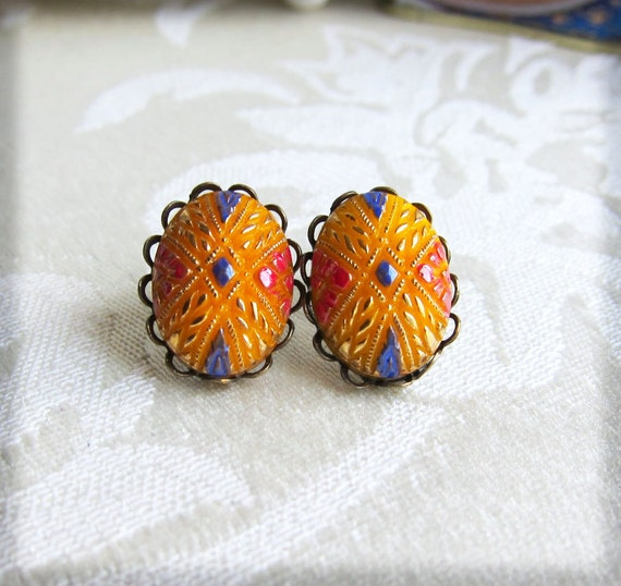 Earrings Vintage Exotic Earrings Moroccan Gold Yellow Canary Persian Blue Red Stud Ear Post - The Circus
