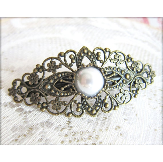 Vintage Style Barrette Pearl Barrette Antique Filigree Hair Clip Victorian Boho Chic Hair Jewelry Rustic Headpiece