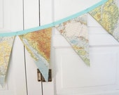 CUSTOM listing for Belinda,  green toned vintage map bunting