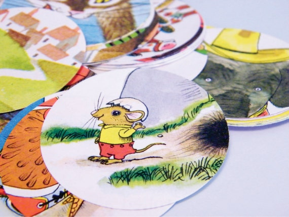 """100qty Richard Scarry children story book paper circle punch die cut craft 2"""""""