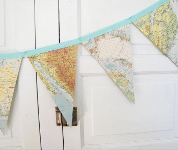 CUSTOM listing for Belinda,  green toned vintage map bunting