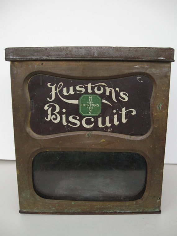 Antique General Store Biscuit Tin Counter Display Advertising Huston's Biscuits