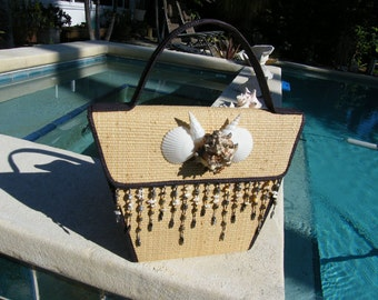Straw Purse embellished with Seashells - Authentic from South of France boutique, Nautical Beach Style Bag with Sophistication..