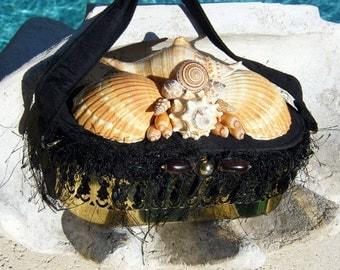 Metal Filigree Purse with Seashells