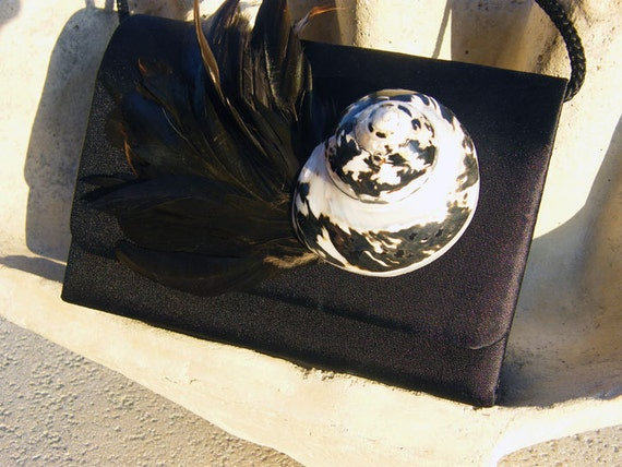 SALE 20% OFF - Black Satin Evening Purse with Seashell and Feathers - Cocktail Party, Wedding, Prom, Formal Handbag with Nautical look.