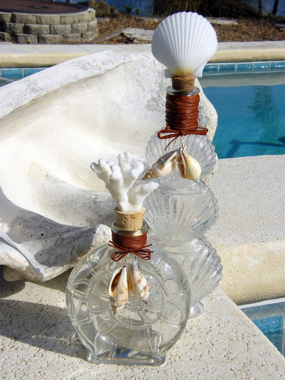 Shell Inspired Decorative Glass Bottles, Coral and Scallop Seashell, Bathroom, Bedroom Home Decor