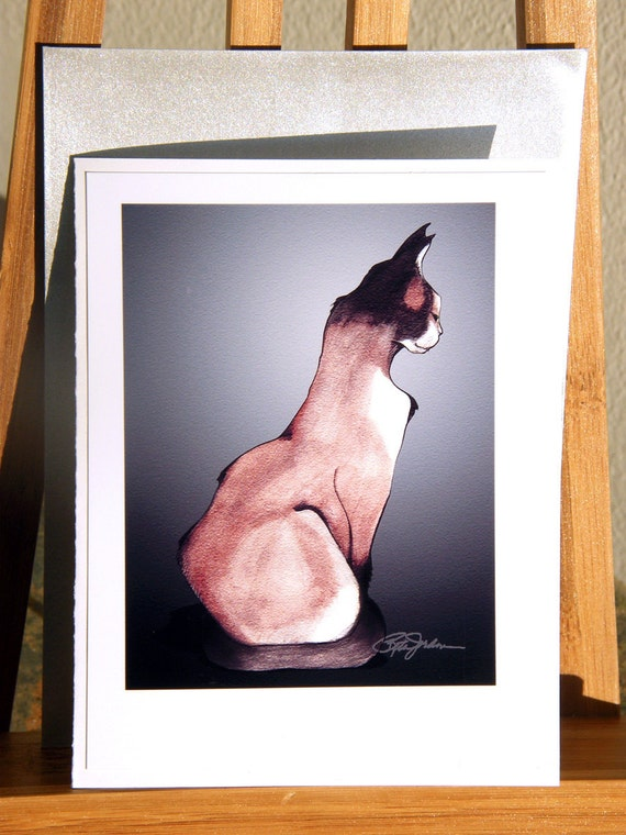Cat Note card with silver envelope - Le Chat (The Cat)