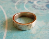 Mens Rustic Wedding Ring, Mens Silver Wedding Band, Rustic Simple,Crinkle Texture Fine Silver