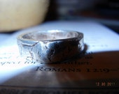 Men's Beautiful Fine Silver 999 Rustic Handcrafted Ring, Wedding, Friendship, Thumb Ring, Statement Ring