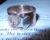 """Copper thumb ring """"SHINE""""  Bright Shiny Fine Silver Star, Mat. 5:16 Let your light shine, Christian Ring, great message"""