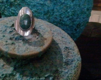 Sterling Silver & Turquoise Stone Ring, original hand crafted one-of-a-kind, can be resized