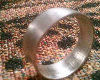 Sterling Silver Mans Wedding Band, Slightly Hammered Finish with a light patina. Any Size Available.