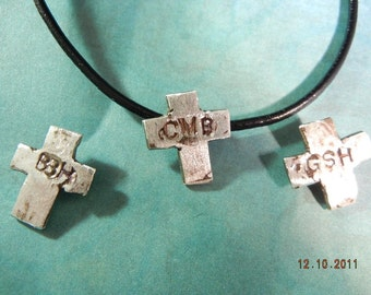 Mens, Boys, Masculine Rustic Textured Silver Cross with Monogramed Initials on Leather chain, One of a kind, Made to Order
