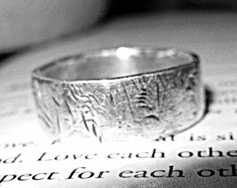 Mens Wedding Band, Mens or Womens Thumb Rings, Sterling and Heavily Textured Ring, Beautiful Band, Unique