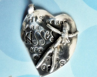 Luminous, Large Fine Silver Heart Pendant, Meaningful Statement of Quotes,Scripture or Names, by Artist Judy Reno His Heart, My Art