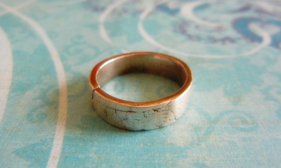 Rustic Wedding Band for Men or Women with Crinkle Texture in Fine Silver, Simple, Artistic, Unique