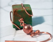 SALE Funky Turquoise Cube Earrings With Copper Wire