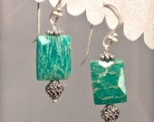 Faceted Deep Blue Green Amazonite Rectangle Earrings