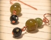 Olive Green Serpentine Black Onyx & Copper Earrings