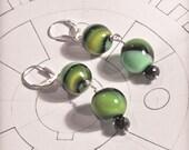 Sterling Silver Dangle Earrings Green Swirl Glass Globes